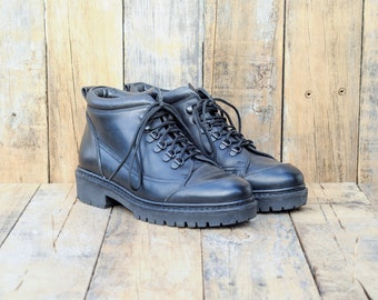 Leather Boots, Us 7.5, Uk 7, Eu 40, Black Ankle Boots, Leather Work Boots, Lace up Boots, Heavy Duty Boots, Combat Boots, MADE in ITALY