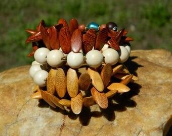 Natural Wood Bead Bangle