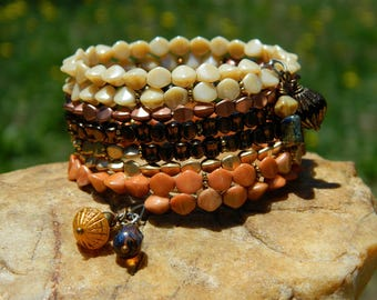 Czech Bead Boho Coil Bangle