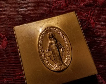 Vintage 1930's Velvet Lined Rosary Case Virgin Mary
