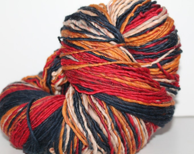 Handspun Merino Wool Yarn.  Single Ply Worsted Weight. Self Striping. Huge Skein. 11oz. 540 yards