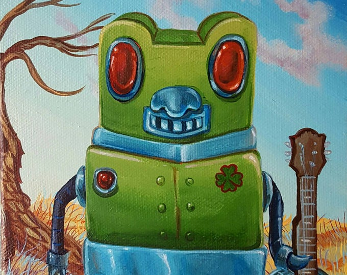 Green Robot - Original painting by Mr Hooper of Nashville Tennessee