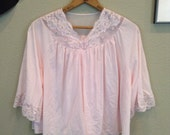 On hold for Angie.....Vintage 70s pink lace nylon bed jacket ~ lingerie ~ pin up ~ cry baby