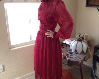 Vintage 60s red sheer metallic silk striped party dress ~ high neck ~ gothic ~