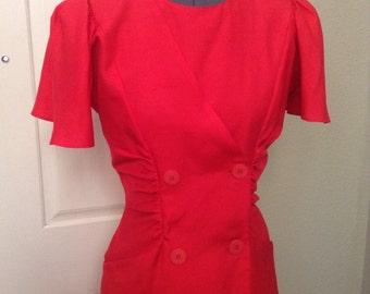 Vintage 80s red silk wiggle dress ~ double breasted ~ cocktail dress