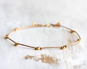 Delicate silk & gold vermeil bracelet - knotted silk layering bracelet with 14k gold filled clasp - beaded bracelet