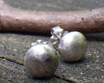 20% OFF Today Sterling Silver Stud Earrings ... organic shape 8mm sterling post earrings