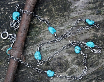 Natural Sleeping Beauty turquoise nugget sterling silver layer necklace