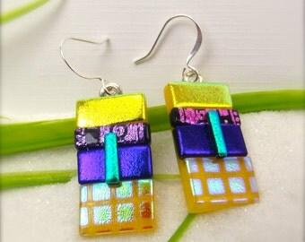 Fused Glass Earrings, Dichroic glass jewelry, Statement Earrings, Hana Sakura, Handmade gifts, creative artisan earrings, Yellow Jewelry