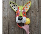 CUSTOM for Pam Extra Large Dog Mask Ceramic Wall Hanging  Handmade by Dottie Dracos, Dog Face with Ball, Dog Mask, 220176