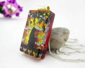 Dichroic Cat Pendant - Fused Glass Jewelry - Cat Jewelry -Fused Glass Necklace - Fused Glass Pendant