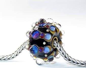 Luccicare Lampwork Bead - Boule - FOCAL - Lined with Brass