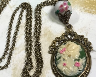 Cameo up-cycled, altered art,   charm Necklace,  handmade, OOAK,  by Bostoncharm ,  color brass, trending jewelry