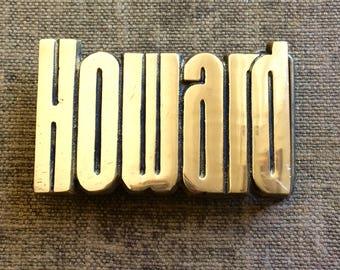 1978 Howard Belt Buckle - Vintage Brass Belt Buckle