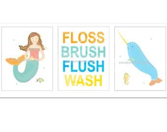 Kids Bathroom Decor, Narwhal Art, Bath Art, Mermaid Art, Whale Art, Brush Wash Flush Art for Bath Wall Decor, Boy Girl Bath, Magical Mermaid