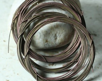Hand antiqued solid brass wire 22g thick, 10 ft (item ID ABW22G)