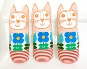 New Scandi Swedish 70s Fabric Toy Cat by Jane Foster - screen printed face  - original design