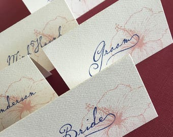 Custom Vintage Hawaiian place cards / escort card, set of 30