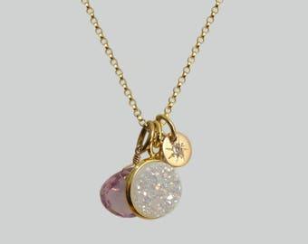 Druzy charm necklace