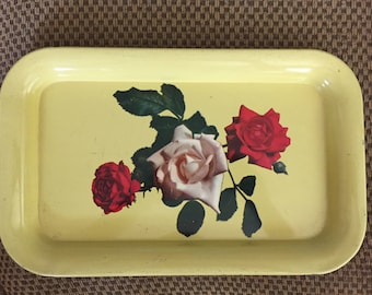 Vintage Yellow Metal TOLE Tray Shabby Chic Red/White Roses ECS schteam