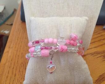 Memory Wire Bracelet  *Pretty In Pink*