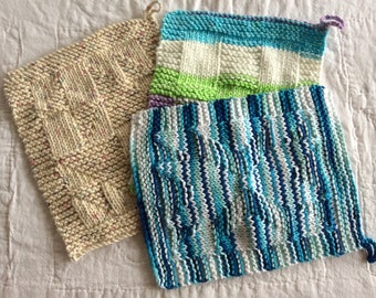 Hand Knitted Cotton Washcloths/Dishcloths/Flannels