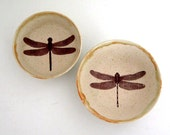 Pair of Small Dragonfly Bowls - Stoneware Bowls - Decorative Bowls - Wheel Thrown Pottery - Ready to Ship