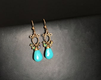 Lana - Turquoise and Ethiopian Opals 14k Gold Filled Earrings