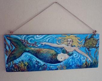 "Primitive Mermaid Folk Art Painting Blonde Haired ""Mermaid"" with Sea Turtle on Reclaimed Wood Panel Ocean Beach House Decor"