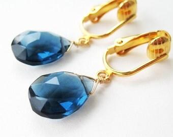 Dark Blue Stone Clip On Earrings, Gold Ear Clips, Faceted Teardrop Navy Blue Hydroquartz Drops, Dangle for Non Pierced Ears, Midnight Gold
