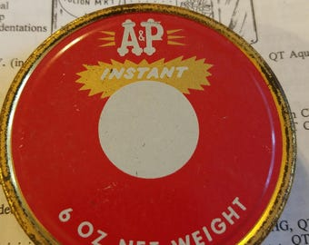 vintage advertising A & P instant coffee jar lid metal tin regular mouth mason grocery packer red white gold screw cap grocers store a and p