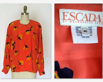 Vintage Escada Silk Blouse 80s Orange Strawberry Print Sz M