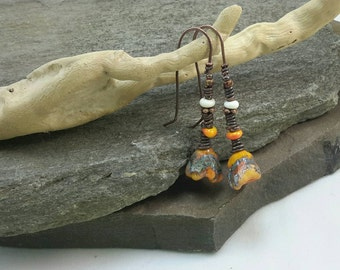 Coral chaos...unique artisan glass earrings by Moose River Glass (Simply Cindy)