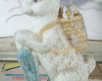 Chalkware / Easter Bunny / Embellished With Forget Me Nots / Dusting of Fine Glitter