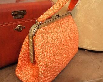 Excellent JR Florida Julius Resnick Handbag Orange Tweed EUC Purse Bag  Retro Mid Century