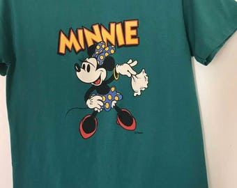 Vintage Velva Sheen Minnie Mouse T Shirt Made in USA Disney