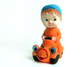 Vintage Squeaky Toy - Boy in orange Car - Rare Rubber Squeeze Toy - Made in Malaysia Squeaker Doll Collectible - Vintage toy