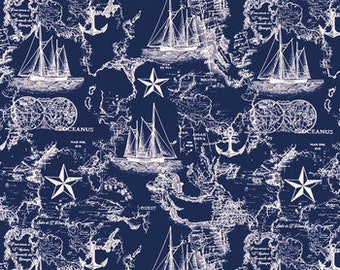 WHITE on BLUE MAP Fabric,  Yardage Fabric by the half or full yard,  nautical, quilting fabric, apparel fabric,  cotton
