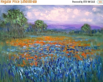Merry Christmas Sale 15% Oil painting  Abstract  18 x 24  Blue Bonnets and Paintbrush  - FREE SHIPPING in US