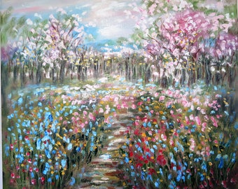 Original oil painting  24 x 20 x 1 -  Cherry Blossoms and wild flowers   - FREE SHIPPING in Us