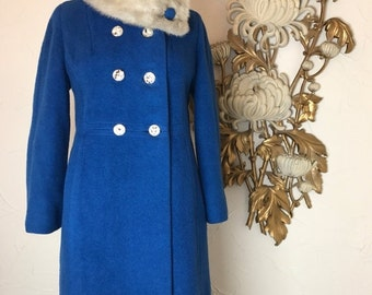 Fall sale 1950s coat wool coat blue coat size medium blin and blin vintage coat fur collar coat 1960s coat