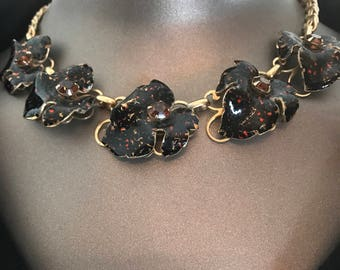 1950s necklace enamel necklace black and brown leaf necklace vintage necklace costume jewelry