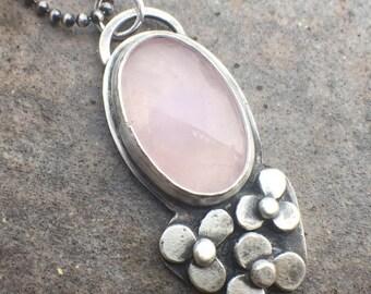 20% Off - Sterling Silver Rose Quartz Flower Necklace