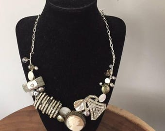 Vintage Buttons, Brooches, Pearls and Semi Precious Stones & Cameo Steampunk Collage Bib Statement Necklace