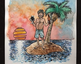 Tropical Island Beer original ink and watercolor painting