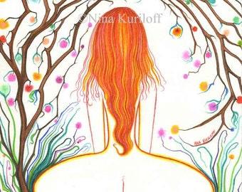 Female Nude Original Art drawing Woman figurative Redhead artwork BBW