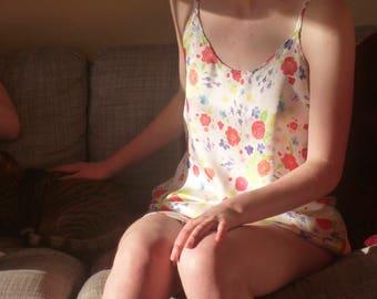 Genuine Silk Satin Slip/ Negligee Floral Print