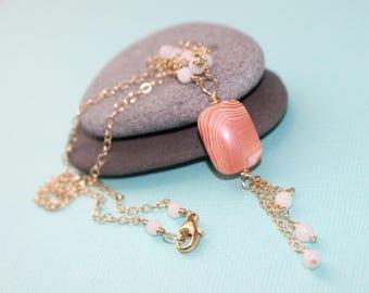 Orange Botswana and White Agate Necklace