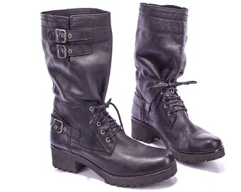 Motorcycle Boots Chunky 80s Black Leather Wide Fit Platform Engineer Work Pull On Riding Rugged Sole Wom Us 10/ Men Us 8 / Eur 41 / UK 7.5 5