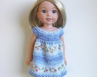 """14.5"""" Doll Clothes Knit Dress Handmade to fit Wellie Wishers dolls - Blues and Jacquard Summer Dress - Blue Dress"""